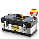 HaiShan CZGJX Caja de Herramientas Caja de Herramientas de Acero Inoxidable de 14 Pulgadas Equipo Multifuncional for el hogar Reparación de electricistas portátiles