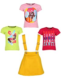 Gkidz Girls Pack of 3 Printed Cotton T-shirts with 1 Pack Stretchable Dungree Skirt (JG-GRAPHICCMB4_N_003DNGRE-YLW_Multicolor )