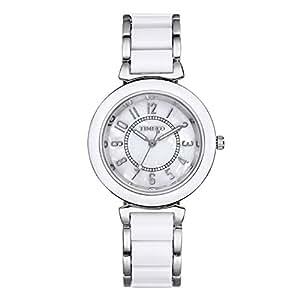 Time100 - Montre Quartz Bracelet Placage en Alliage Acide Acrylique Cadran Fritillaire Naturelle Femme Blanche et Grise d'acier - W50149L.04A