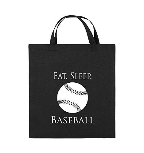 Comedy Bags - EAT. SLEEP. BASEBALL - BALL - Jutebeutel - kurze Henkel - 38x42cm - Farbe: Schwarz / Pink Schwarz / Weiss