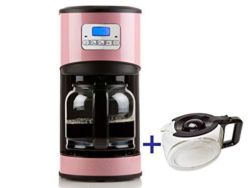 Kaffeemaschine in Rosa mit 24-Std. Timer, 2 x 1,5 Liter Glaskanne, LCD-Anzeige