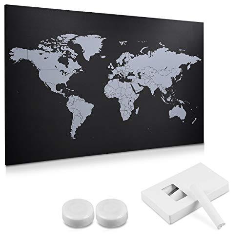 Navaris Tableau noir magnétique - Tableau décoration murale 60 x 40 cm design carte du monde - Tableau ardoise avec craies aimants kit de fixation