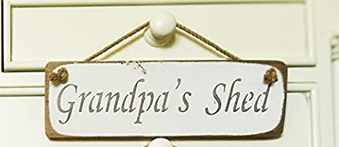 GRANDPAS SHED SIGN - Grandpas Present Gift Hanging Solid Wood