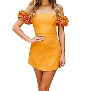 44c5f0930254a Damen Sommer Schulterfreie kleider Rosaennie Frauen Lässige mode Elegant  Reine Farbe Casual Ein Kragen Hohe Taille