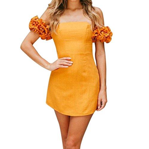 Damen Sommer Schulterfreie kleider Rosaennie Frauen Lässige mode Elegant Reine Farbe Casual Ein Kragen Hohe Taille Fashion Short Mini Strandkleid Partykleid Abendkleid Einfaches Kleider (Orange, XL)