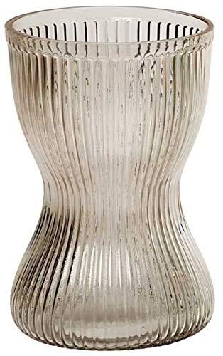 I.S. Verschiedenes geriffeltes Glas Vase Stunde Glas Pink Clear Vase grün Vase 18cm, Farblos, 18×11cm