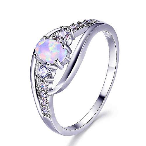 WYYDJZ Ovale Opalringe Für Frauen Antik 925 Sterling Silber Gefüllt Weißer Zirkon Birthstone Ring Femme (Birthstone Billig Ringe)