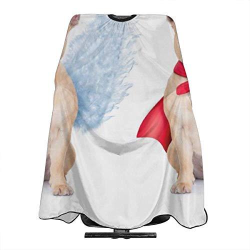 an Angel Bulldog and A Devil Bulldog Personalized Custom Professional Friseursalon-Schürze, Polyester Hair Shawl 55
