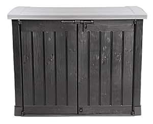 Ondis24 Gartengerätebox Mülltonnenbox Gartenmöbelbox Poolbox Gartenbox Arc, anthrazit, für 2 Stück 240 Liter Mülltonnen geeignet