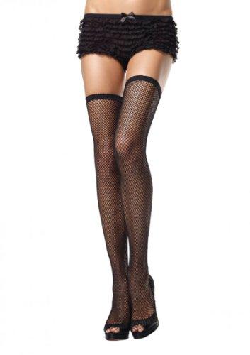 Leg Avenue Damen halterlose Netz Strapsstrümpfe mit elastischem Bund in schwarz transparent Größe 38 bis 40