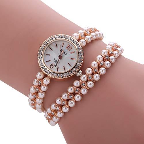 Kakiyi Strass-Dekor-Perlen-Armband-Frauen-Mädchen-Runde Quarz-Uhren-Armband-Legierungs-Armbanduhr