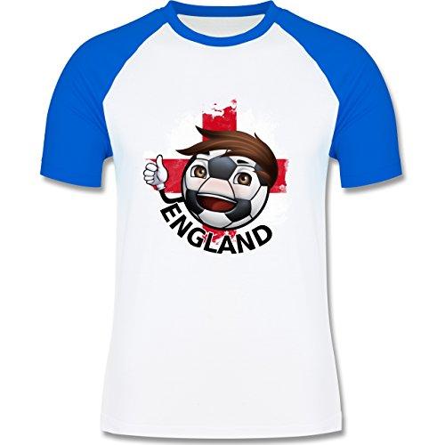 EM 2016 - Frankreich - Fußballjunge England - zweifarbiges Baseballshirt für Männer Weiß/Royalblau