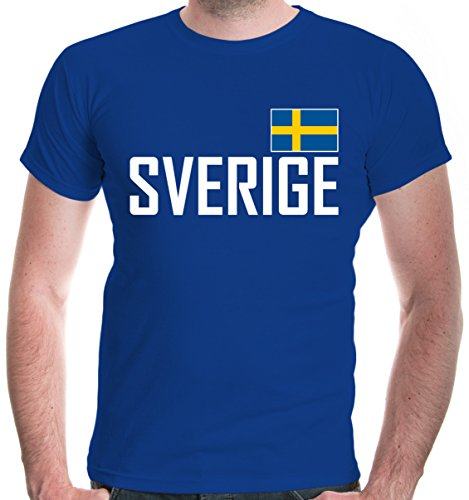 (buXsbaum Herren T-Shirt Schweden | Sverige Sweden Suede Suecia Europa | Ländershirt Fanshirt | XL, Blau)
