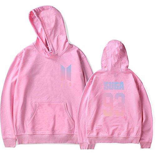 SIMYJOY Moda BTS Felpa con cappuccio KPOP Pullover Hip Hop Felpa Hoodie Top per Uomo Donna Adolescente 93 rosa