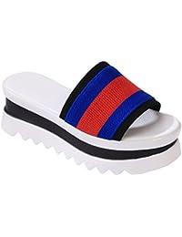 KHSKX-El Muffin Señora Zapatillas Nueva Moda Coreana Un Dedo Mujer Zapatillas Y Rayas Azul Treinta Y Siete