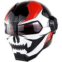 Wenyan Casco Moto con Flip Abierto con Máscara Abierta Casco Moto Casco Moto, Transformadores Iron