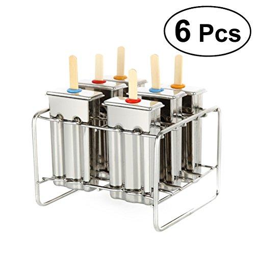 bestonzon 6Eis Pop Formen Edelstahl Popsicle Schimmel Lolly Maker mit Ablage