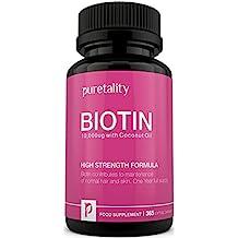 Biotin Haarwachstum - Ergänzungsmittel, 365 Soltgel-Kapseln (Jahresversorgung) – 100% GELD-ZURÜCK-GARANTIE – Puretality Einzigartiges Hochwirksames Biotin 10000mcg angereichert mit Kokosnussöl, Vitamin B7 sorgt für gesunde Nägel, Haut & Haare – Doppelte Stärke zu 5000 MCG Konkurrenten