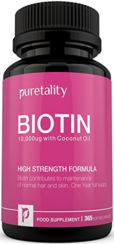 Biotin Hair Growth Supplement, 365 Softgels (Full Year Supply) - 100% MONEY BACK GUARANTEE - Puretality Unique High Strength Biotin 10000 mcg with Added Coconut Oil, Vitamin B7 Contributes to Healthy Hair, Nails & Skin - Double Strength of 5000 MCG competitors Test