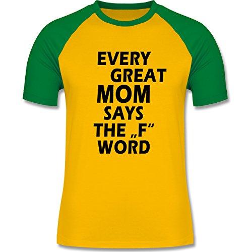 Statement Shirts - Fuck Word - zweifarbiges Baseballshirt für Männer Gelb/Grün