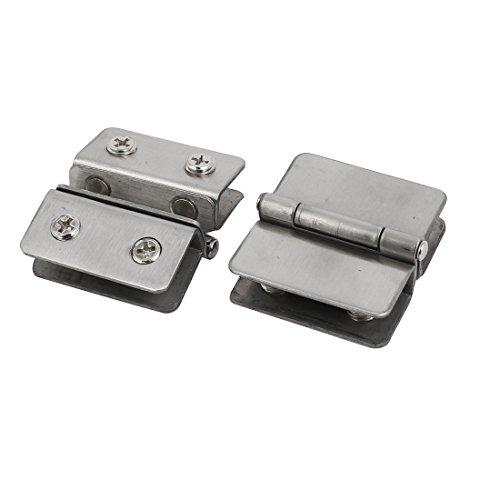 Sourcingmap® Dusche Glas Tür verstellbar Doppel-Klammer Scharnier Silber Ton 2 -