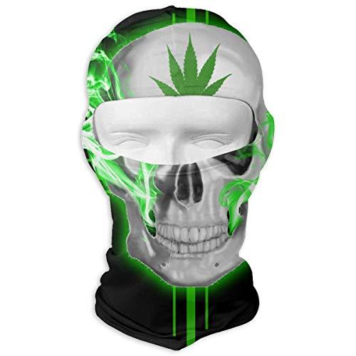 Aeykis Marihuana-Unkraut-Schädel-Grün-Vollgesichtsmaske-Ski, die die Maske-Hals-Schutz für Männer Frauen ()