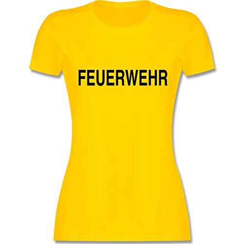 Feuerwehr - Feuerwehr Schriftzug - tailliertes Premium T-Shirt mit Rundhalsausschnitt für Damen Gelb