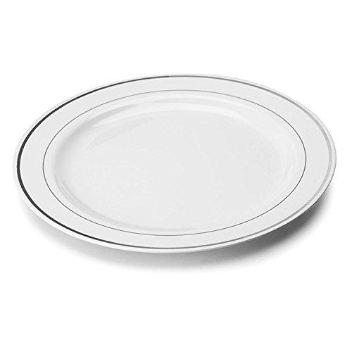 Sabert 100Stück 23cm Durchmesser mit hochwertigem und langlebigem Kunststoff Einweg Silber Rand Teller Microwavable Kochen