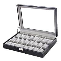 Songmics new Black 24 Watch Storage Box Case Bracelet Bangle Display Tray JWB024