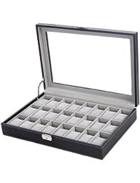SONGMICS JWB024 - Caja para 24 de relojes con tapa de vidrio, color negro y gris