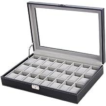 Songmics nuova nero 24orologi JWB024case braccialetto display vassoio portaoggetti
