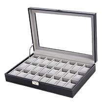 Songmics XXL Uhrenkoffer für 24 Uhren 43,5 x 29,5 x 8,5 cm Schwarz JWB024
