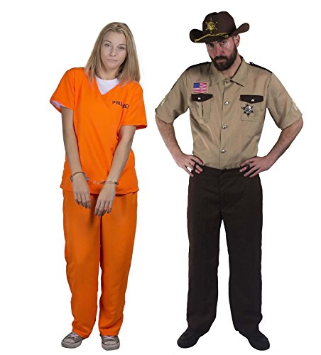 (ILOVEFANCYDRESS Sheriff +STRÄFLINGS Paare KOSTÜM VERKLEIDUNG=Freunde Karneval Theme=Fasching-Karneval Halloween JUNGGESELLENABSCHIED = GEFANGENER-XLarge+Sheriff-XLarge)