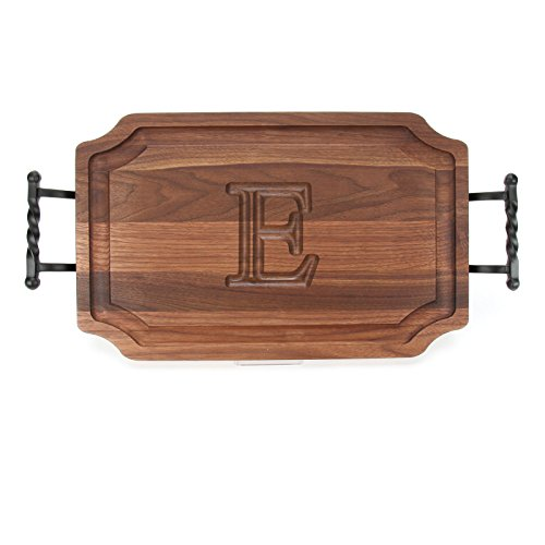 BigWood Boards W320-LTWB-E Carving Board with Large Twisted Ball Handle with Scalloped Corners, 15-Inch by 24-Inch by 1.25-Inch, Monogrammed