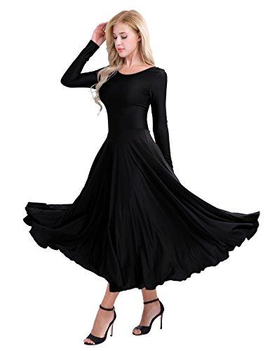 Freebily Femme Justaucorps de Ballet Robe de Danse Gym Classique Combinaison Léotard Manches Longue Maxi Robe de Tango Latine Salsa Rumba Zumba Robe S-2XL Noir 38