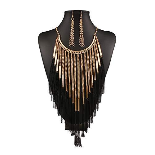 Yying Damen Schmuckset Halskette Vintage Quaste Halskette und Ohrring Kette Bib Halskette Creative Geschenk
