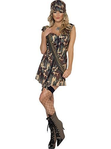 Confettery - Damen Frauen Camouflage Soldatin Kämpferin Kriegerin Armee Girl Kostüm mit Kleid und Mütze, perfekt für Karneval, Fasching und Fastnacht, L, Grün