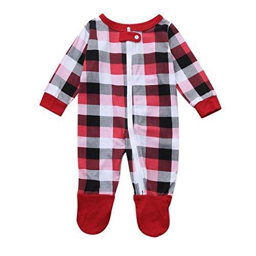 DoraMe Eltern Kinder Baby Weihnachten Plaid Nachthemden Xmas Print Bluse + Gitter Hose (Baby, 12 Monate) (Lustige Weihnachten-schlafanzüge Für Die Familie)