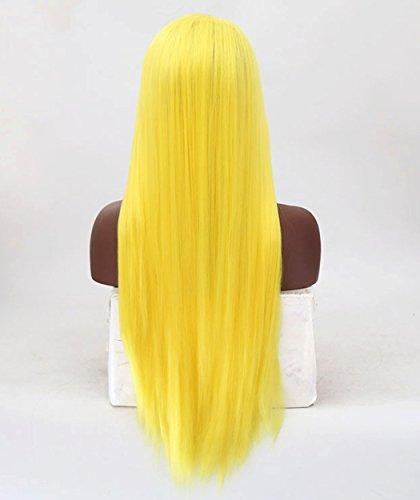 ATAYOU® 24 Zoll Lange Gerade Gelb Synthetische Lace Front Perücken Hitzebeständige Cosplay Perücken für Frauen mit einer Perücke Kappe (Gelb) - Länge Synthetische Perücke