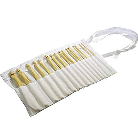 16 Pc Set of Bamboo Crochet Hooks By Curtzy -