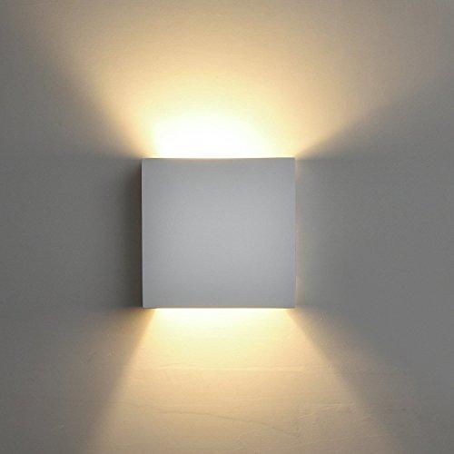 DECKEY 3W LED Wandleuchte Wandlampe modern Design aus Gips LED Wandbeleuchtung Warmweiß, HR1004