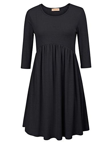 vestidos básicos sueltos casuales con vestido plisado de cuello redondo L KK873-1