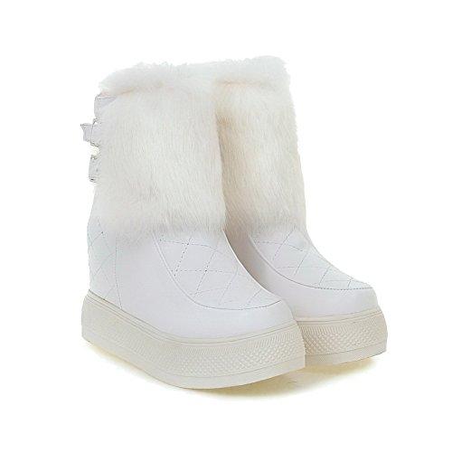 AllhqFashion Damen Weiches Material Rein Niedrig-Spitze Hoher Absatz Stiefel Weiß
