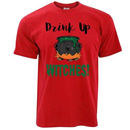Getränk oben Hexen Gedruckt Slogan Zitat Design Premium-Qualität Herren T-Shirt