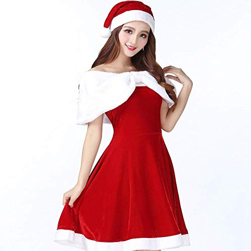 Fashion-Cos1 Fantasy Red Christmas Halloween Kostüm Lady Weihnachten Kostüme Womens Santa Claus Party Kostüme Cosplay (Lady Santa Claus Kostüme)