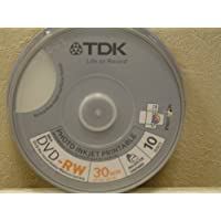 TDK DVD-RW 8cm 1.4Go 2x imprimable 10 pièces en Cakebox -- TDK
