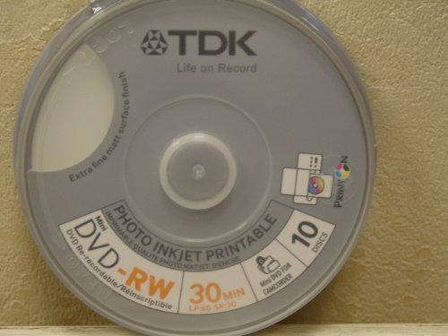 TDK DVD-RW 8cm 1.4Go 2x imprimable 10 pièces Cakebox