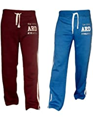 Men's Fleece Joggers Track Suit Bottom Jogging Exercise Fitness Boxing MMA Gym Sweat Fleece Trousers (Maroon and blue)