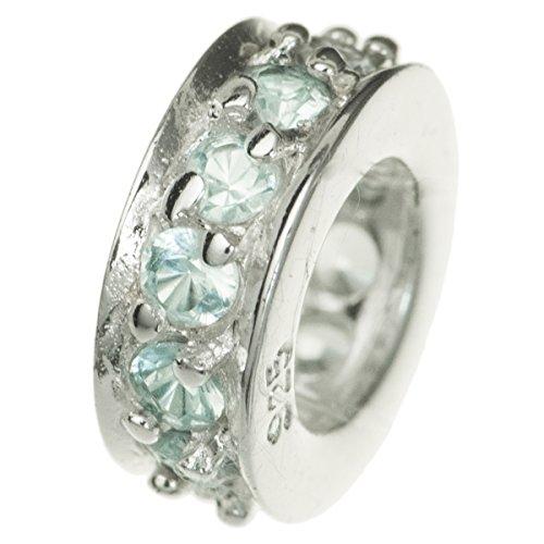 Anello rotondo in argento Sterling 925Bead azzurro cristallo cz marzo di compleanno per braccialetti europei