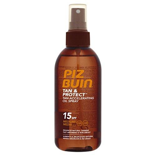 PIZ BUIN SPF15 - Aceite Spray protector para piel, SPF15 UVA, UBV, 150 ml